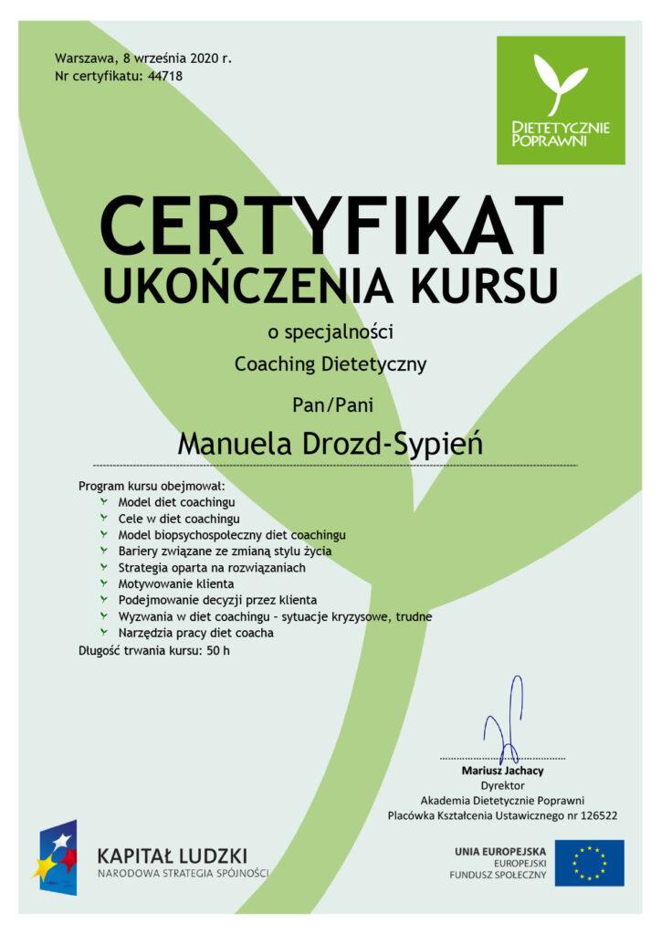 Manuela Drozd-Sypień certyfikat coaching dietetyczny